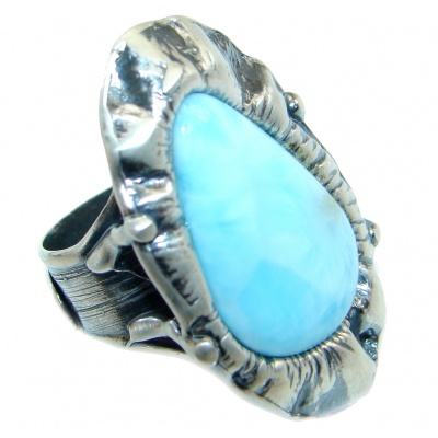 Genuine AAA Blue Larimar Sterling Silver handmade Ring size adjustable
