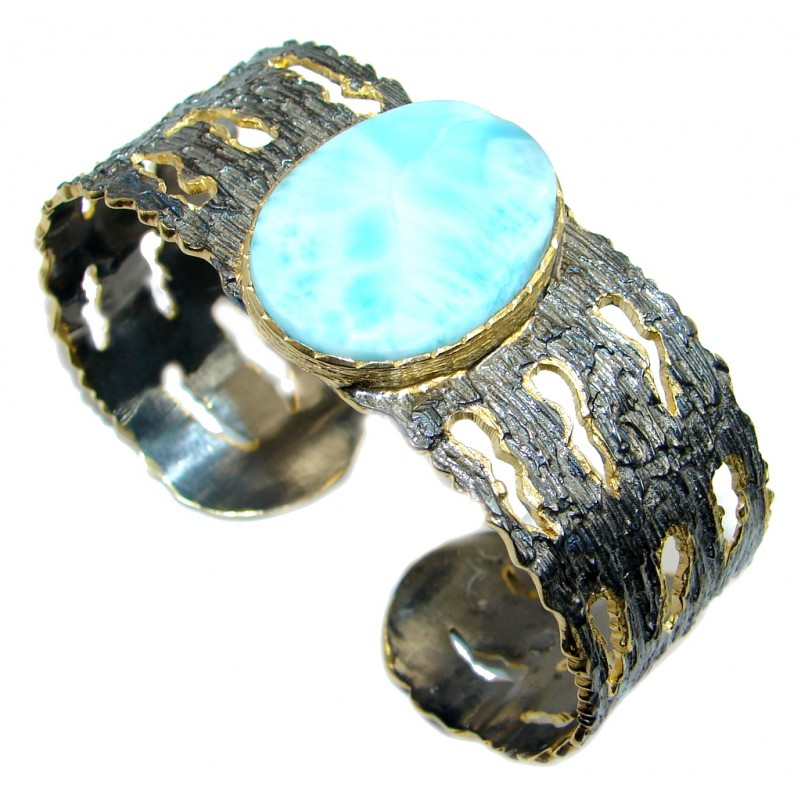 Chunky Blue Larimar Gold Rhodium plated over Sterling Silver Bracelet / Cuff