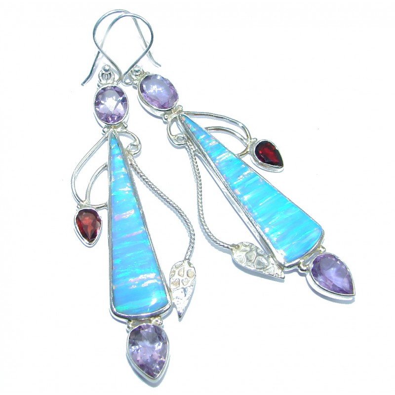 Long lab. Blue Japanese Fire Opal handcrafted Sterling Silver earrings