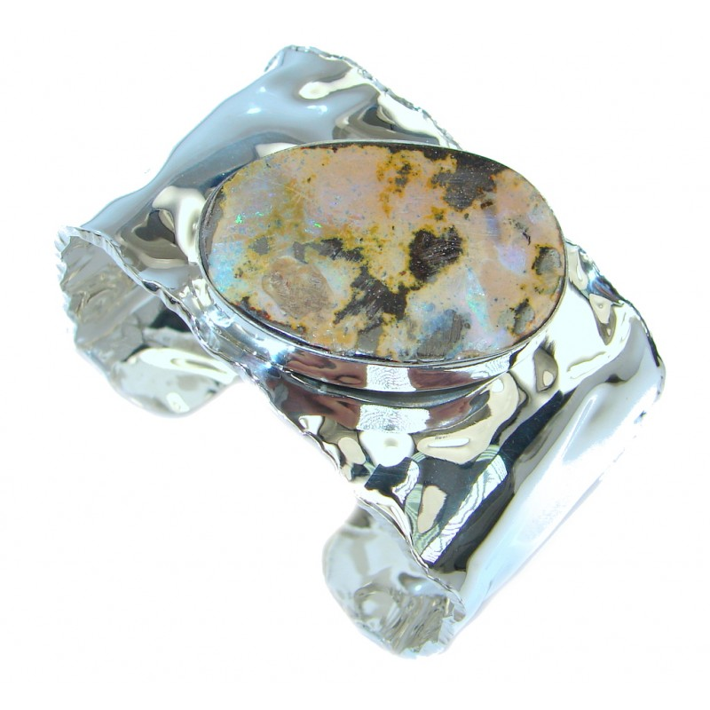 Norwegian Northern Lights AAA Boulder Opal handcrafted Sterling Silver Bracelet / Cuff