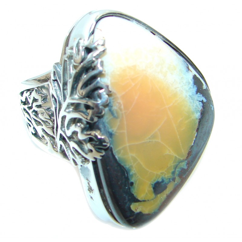 Classic Beauty Boulder Opal Sterling Silver ring size adjustable