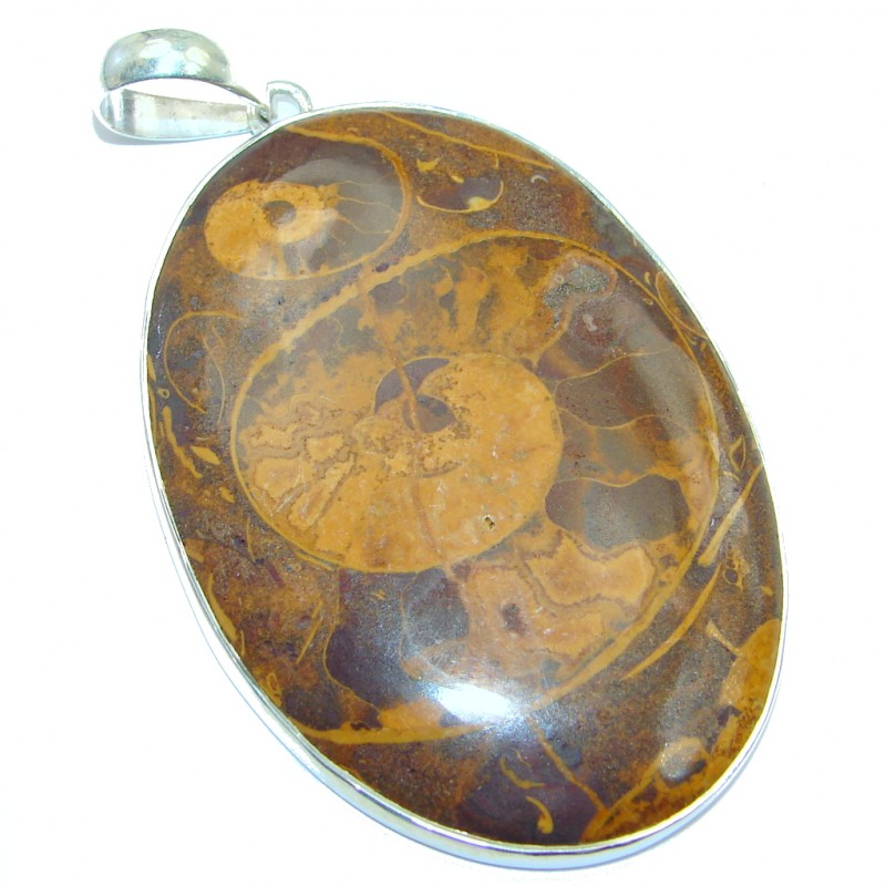 Large Simple Brown Fossilized Crinoid Sterling Silver pendant