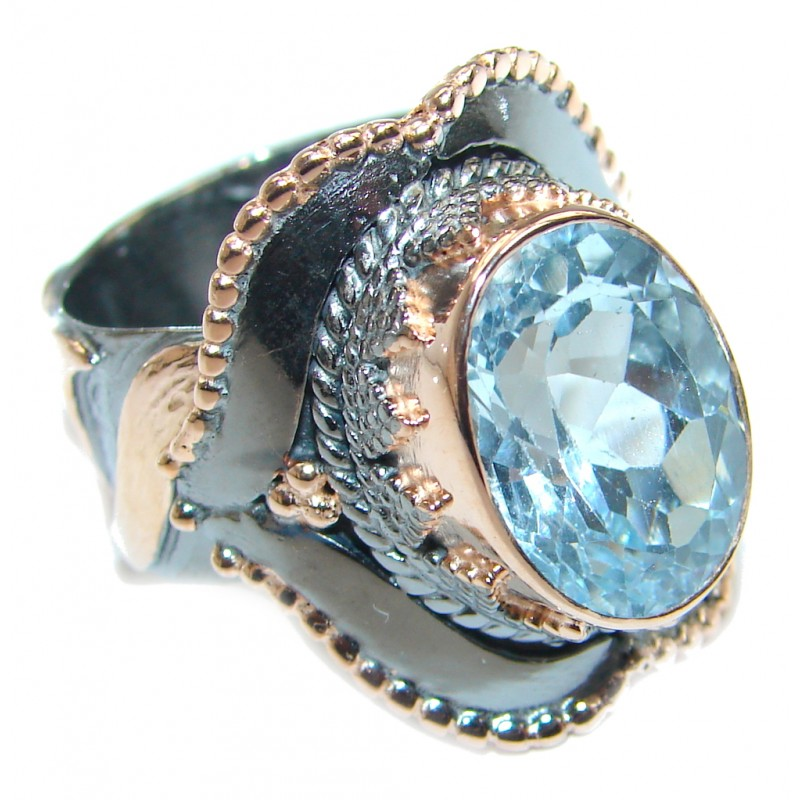 Swiss Blue Topaz Rose Rose Gold plated over Sterling Silver Ring size adjustable