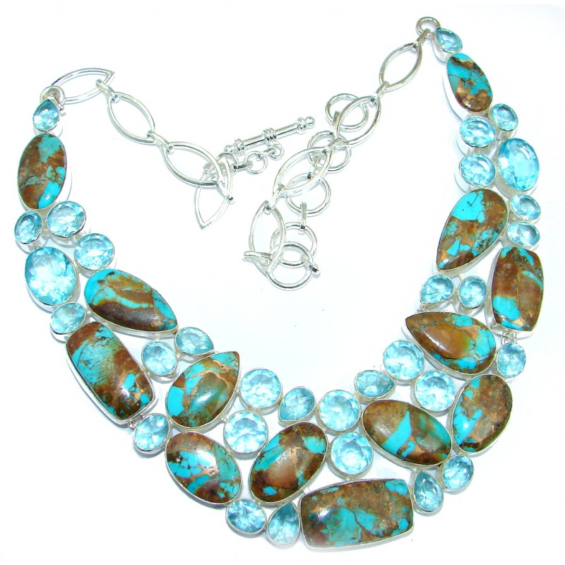 Huge Genuine Blue Turquoise with copper vains Sterling Silver handmade Necklace