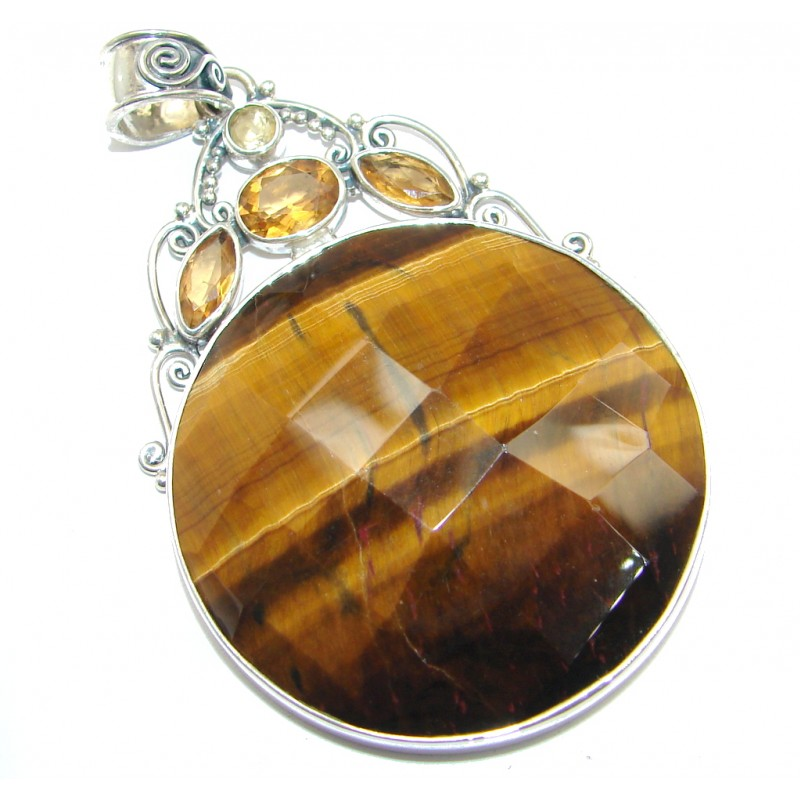 Golden Tigers Eye Citrine Sterling Silver handcrafted Pendant