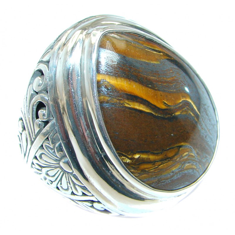Totally Oversized AAA Iron Tigers Eye Sterling Silver ring s. 10