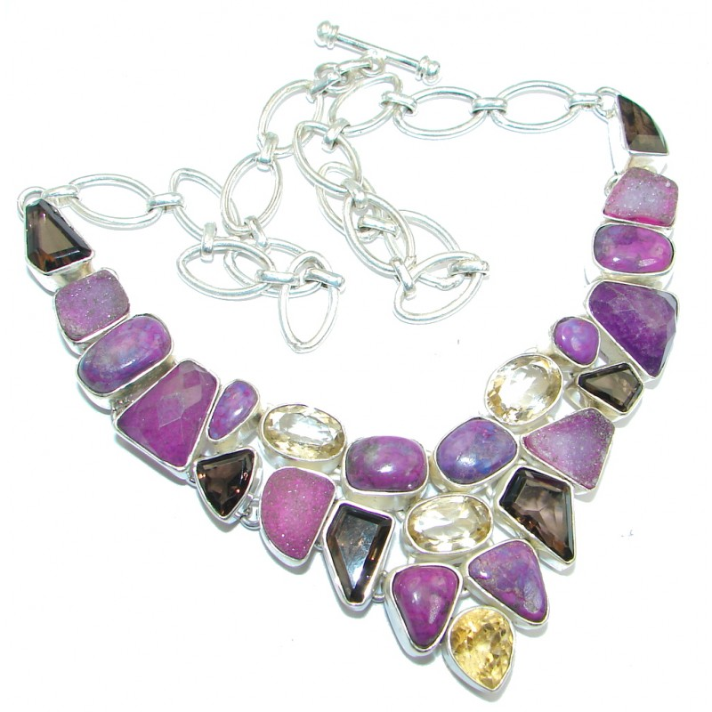 Lavender Dream Purple Copper Turquoise Sterling Silver handcrafted Necklace