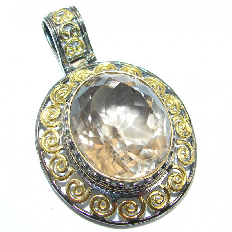 Vintage Style Smoky Topaz Gold Rhodium plated over Sterling Silver Pendant
