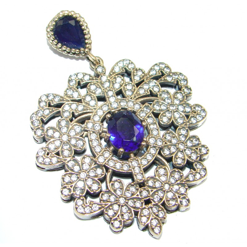 Victorian Style Created Blue Sapphire & White Topaz Sterling Silver Pendant
