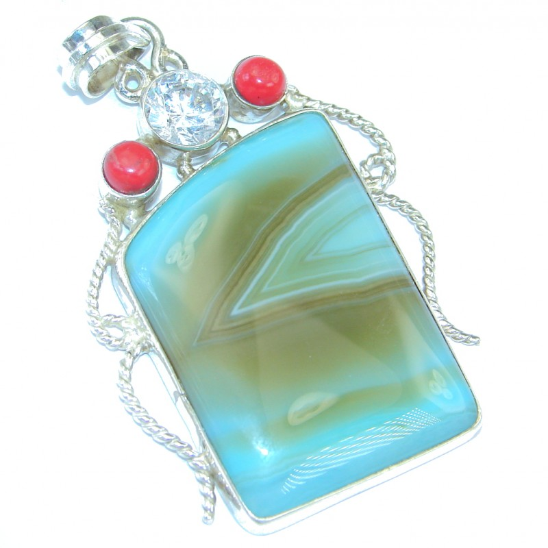 Fabuloue Mint Agate Sterling Silver handmade pendant