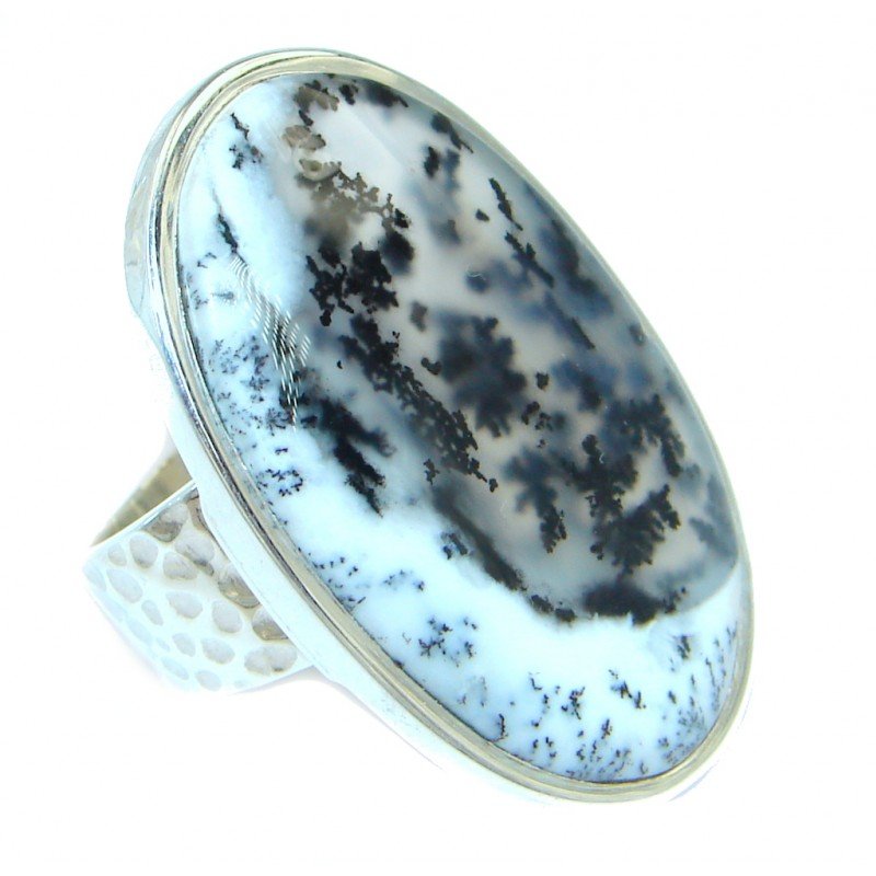 Snow Queen AAA Dendritic Agate Sterling Silver hancrafted Ring s. 8