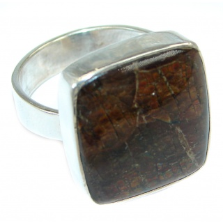 Authentic Orange Fire AAA Ammolite Sterling Silver ring s. 9