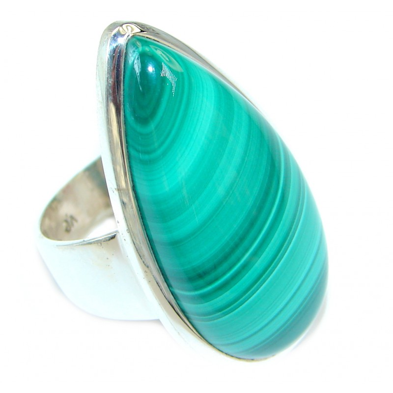 Natural AAA Green Malachite Sterling Silver handcrafted ring size 8
