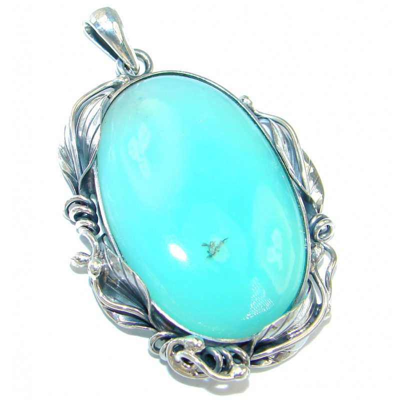 Pale Beauty genuine Chrysoprase Oxidized Sterling Silver Pendant