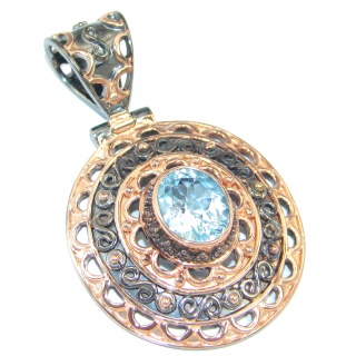 Genuine Swiss Blue Topaz Rose Gold plated over Sterling Silver handmade Pendant