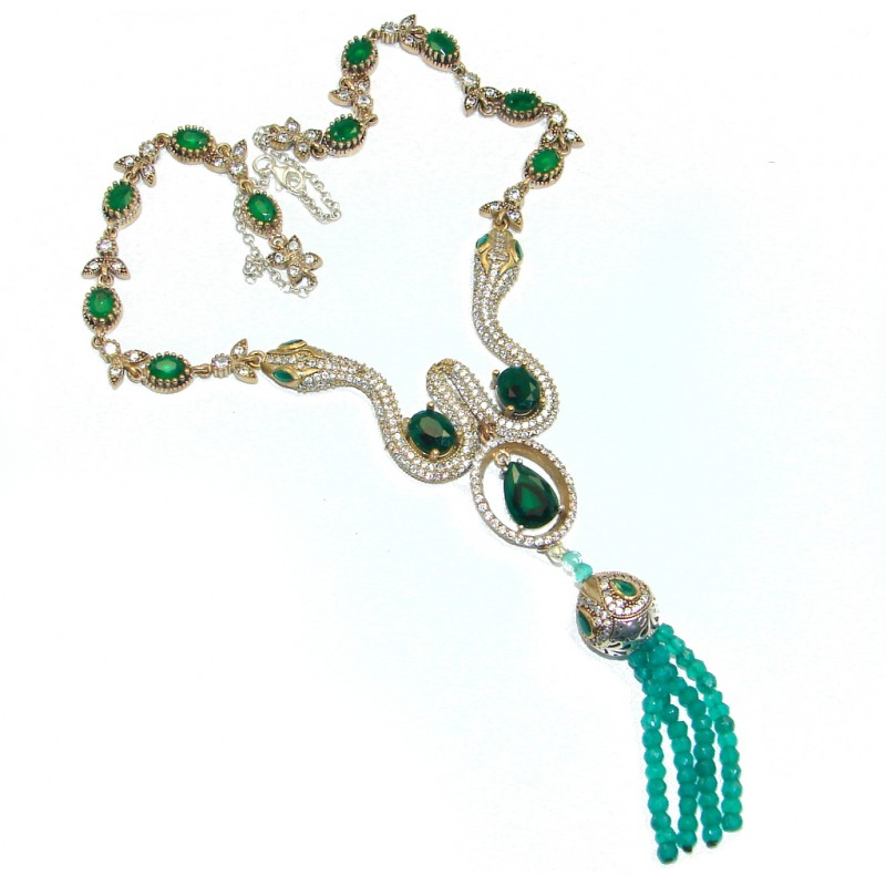 Two Snakes Victorian Style created Emerald & White Topaz copper over Sterling Silver necklace