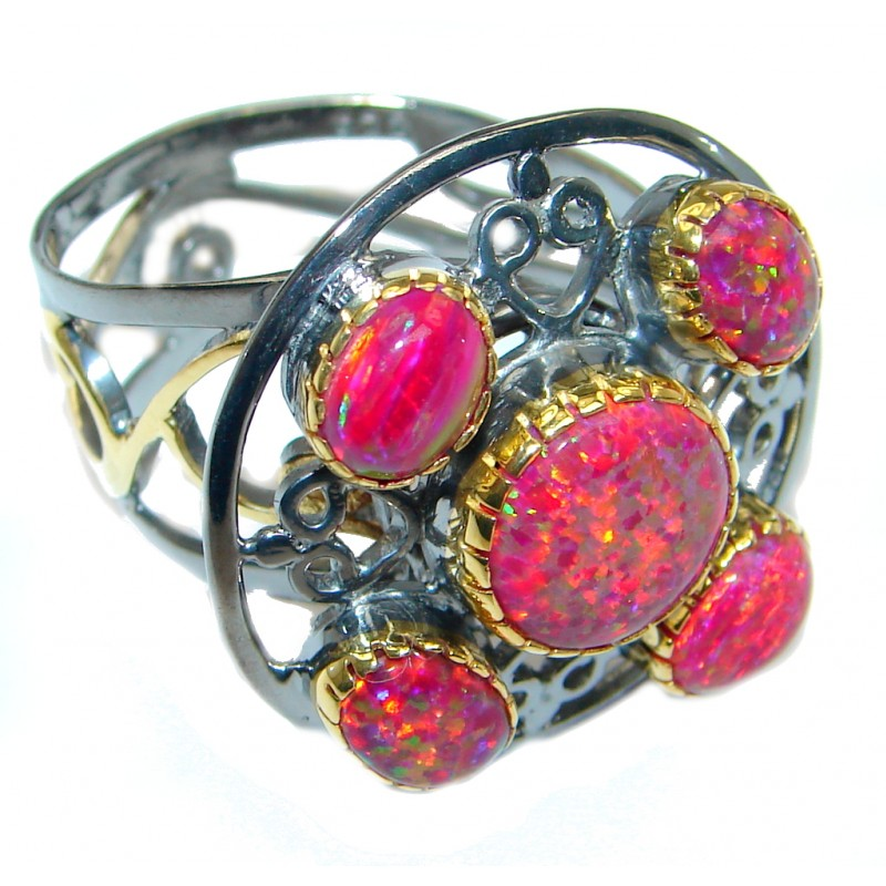 Lab. Fire Opal Gold Rhodium plated over Sterling Silver Ring size adjustable