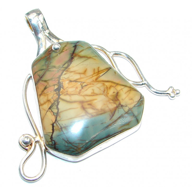 Big and Fabulous Red Creek Jasper Silver Tone handmade Pendant