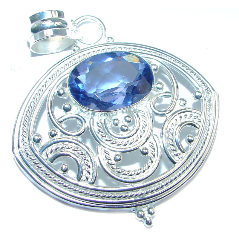 Simple created Tanzanite Silver Tone Pendant