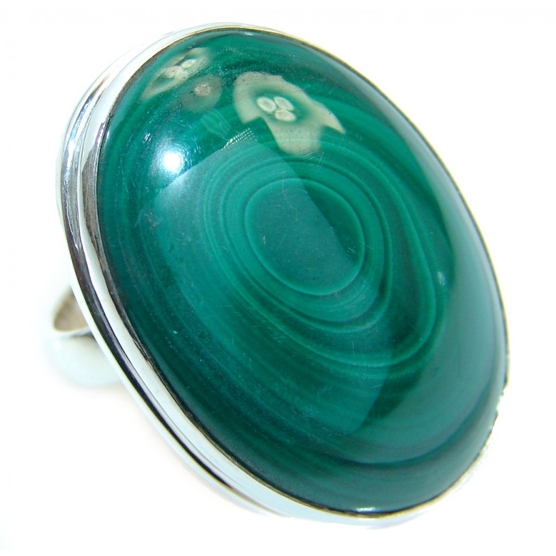 Natural AAA Green Malachite Sterling Silver handcrafted ring size adjustable