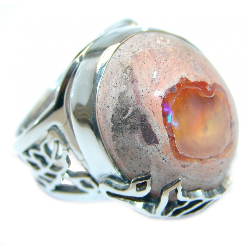 Genuine Mexican Fire Opal Oxidized Sterling Silver handmade Ring size adjustable