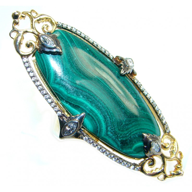 Beautiful Green Malachite & White Topaz Gold Plated Sterling Silver ring s. 7