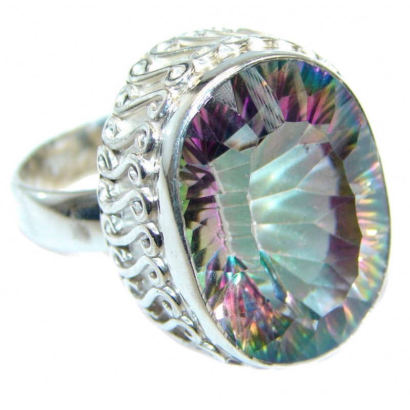 Exotic Rainbow Magic Topaz Sterling Silver Ring s. 7