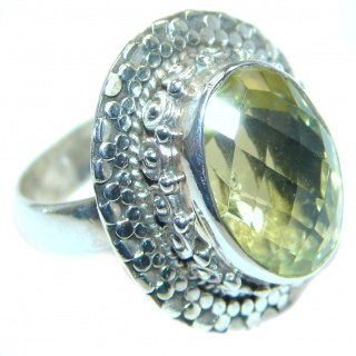 Golden Citrine Sterling Silver handmade Ring s. 6