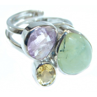 Moss Prehnite Amethyst Citrine Sterling Silver ring; size adjustable