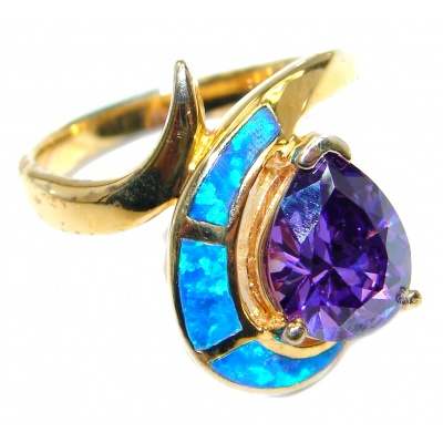 Japanese Fire Opal Cubic Zirconia Gold plated over Sterling Silver ring s. 6