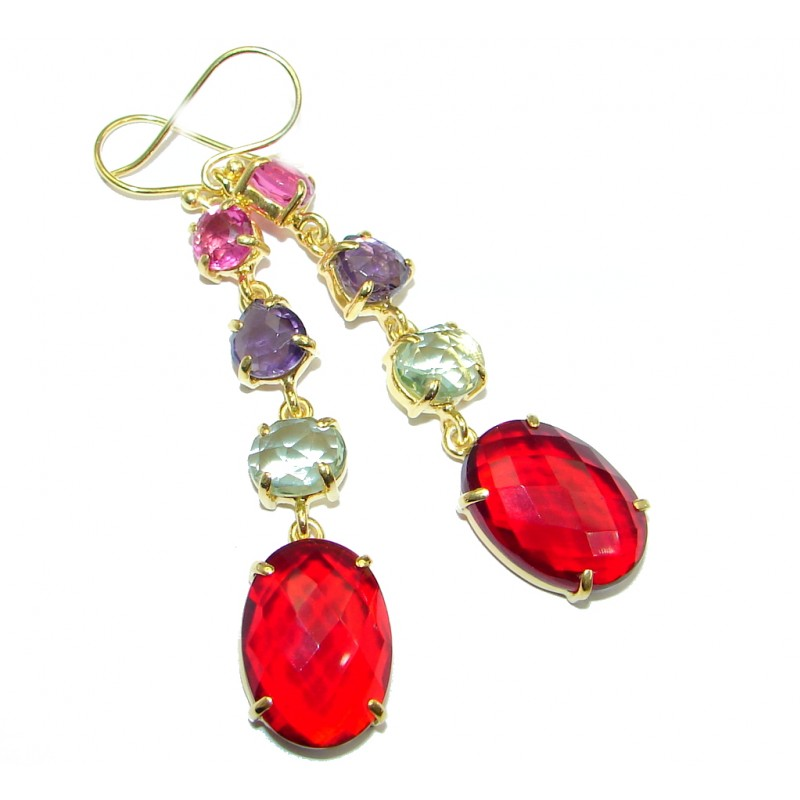 Chic simulated Gemstones Gold plated over Sterling Silver earrings