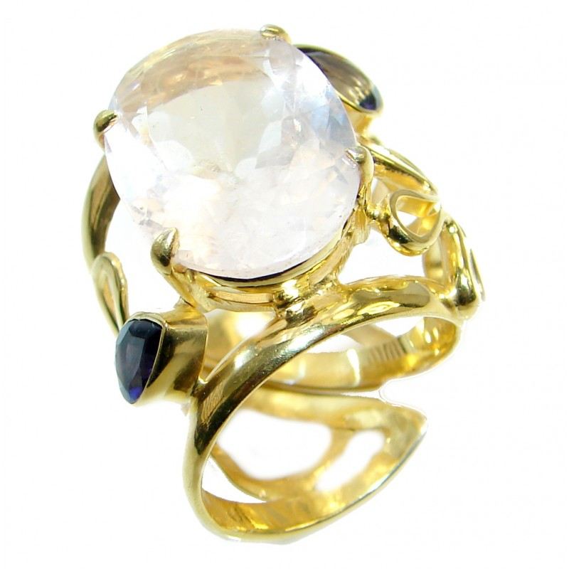 Large Rose Quartz Gold Plated over Sterling Silver ring; size adjustable