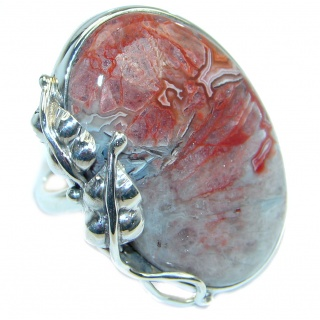 Big Excellent quality Crazy Lace Agate Sterling Silver Ring size adjustable