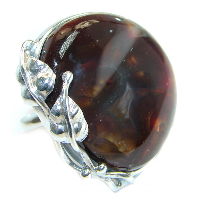 Bohemian Style Genuine Fire Agate Mexican Sterling Silver Ring size adjustable