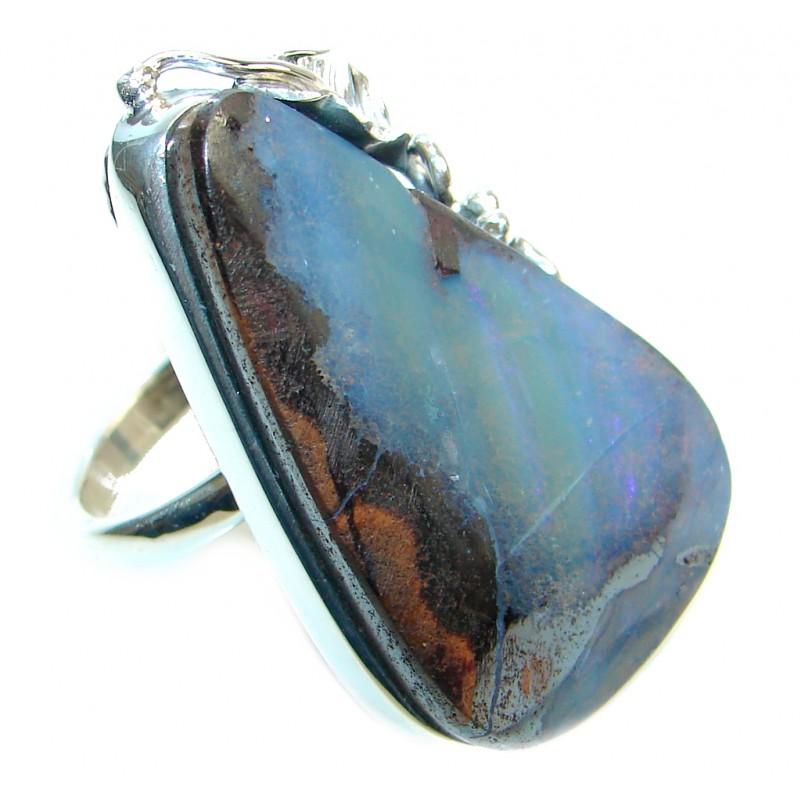 Classic Beauty Boulder Opal Sterling Silver handcrafted ring size adjustable