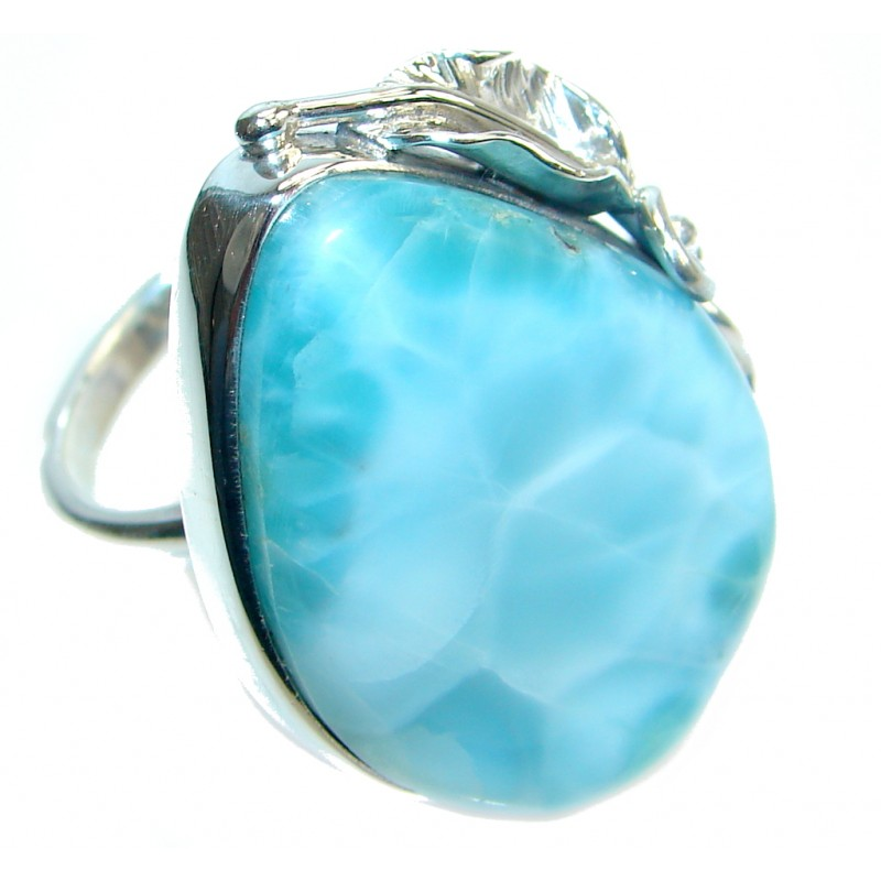 Sublime Genuine AAA Larimar Sterling Silver handmade Ring size adjustable