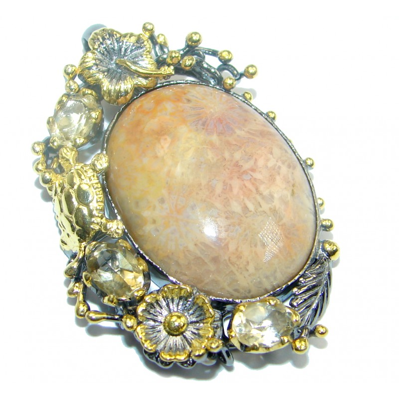 Authentic Natural Fossilized Coral Citrine Gold plated over Sterling Silver Pendant