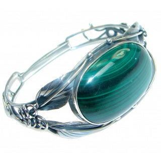 Natural Malachite Oxidized Sterling Silver handcrafted Bracelet / Cuff