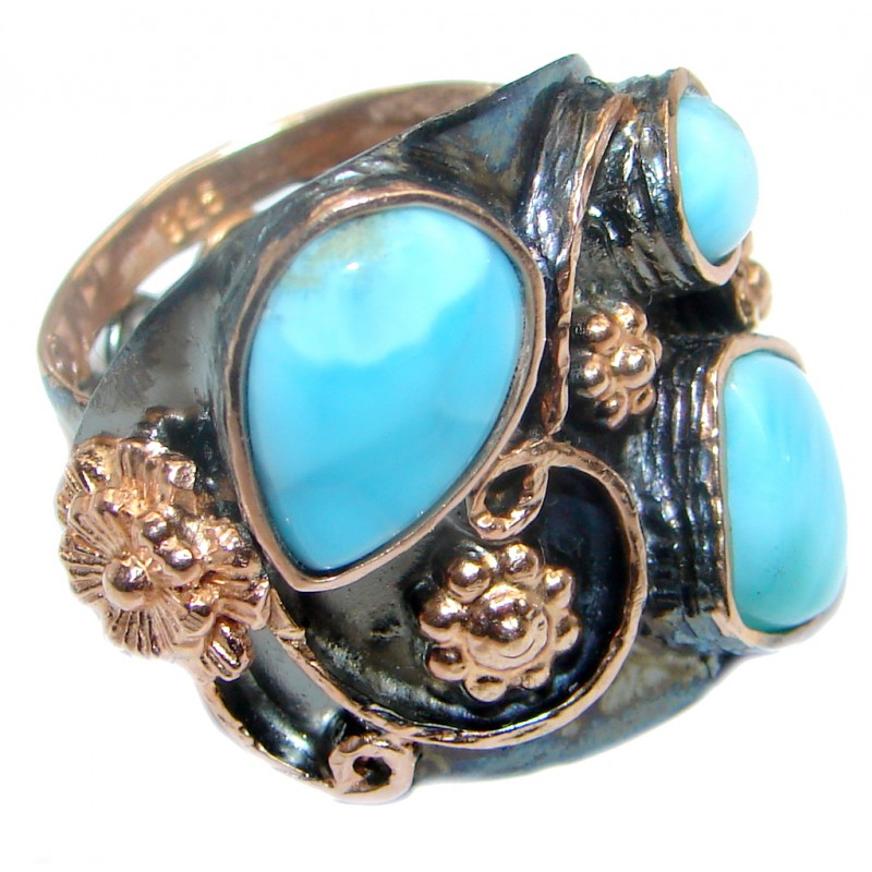 Genuine Larimar Rose Gold Rhodium plated Sterling Silver handmade Ring size adjustable