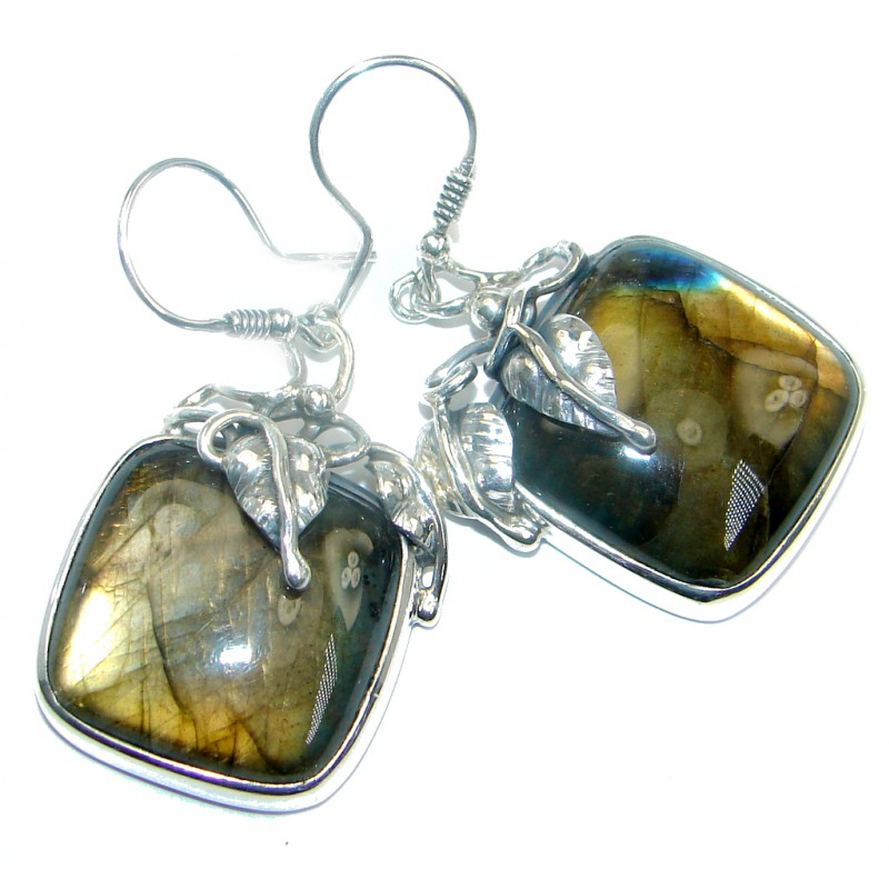 Vintage Design Blue Fire Labradorite Sterling Silver handmade earrings