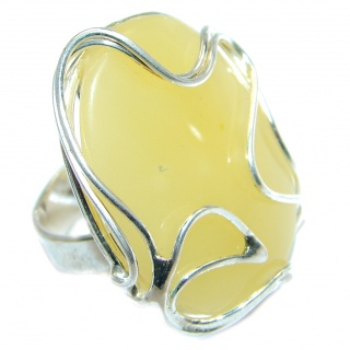 Huge Genuine Butterscoth Baltic Polish Amber Sterling Silver handmade Ring size adjustable