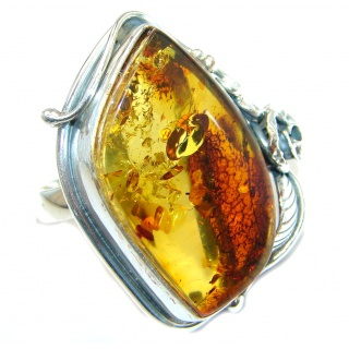 Huge Genuine Baltic Polish Amber Sterling Silver handmade Ring size 9 1/4