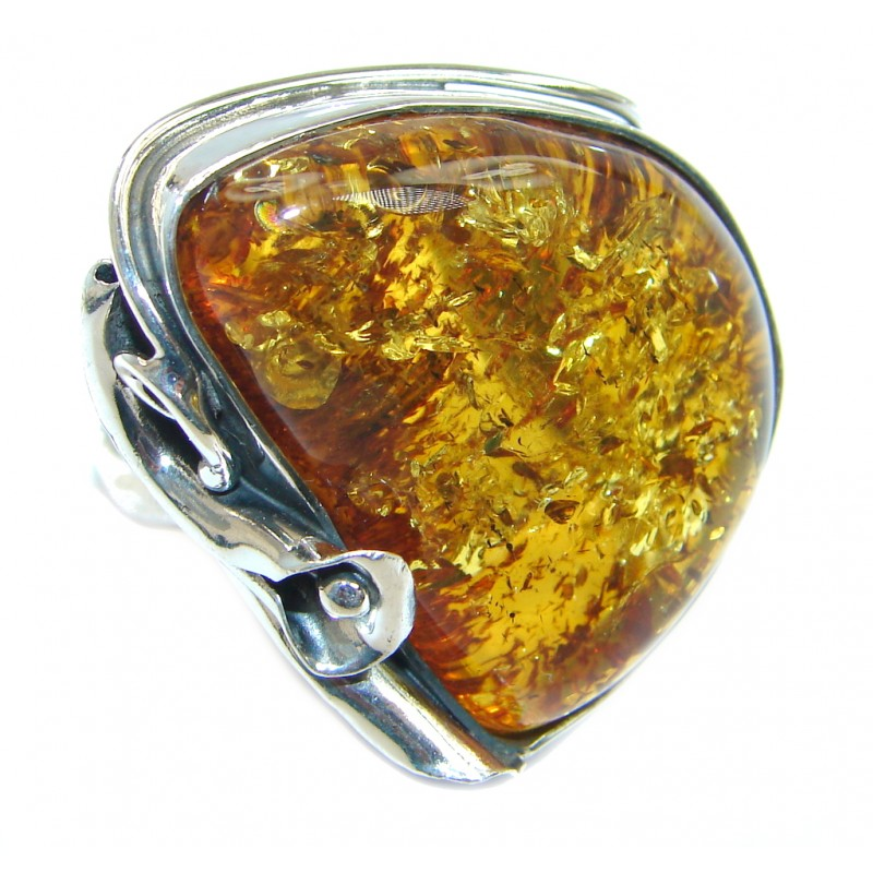 Huge Genuine Baltic Polish Amber Sterling Silver handmade Ring size 8