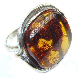 Huge Genuine Baltic Polish Amber Sterling Silver handmade Ring size 8 1/4