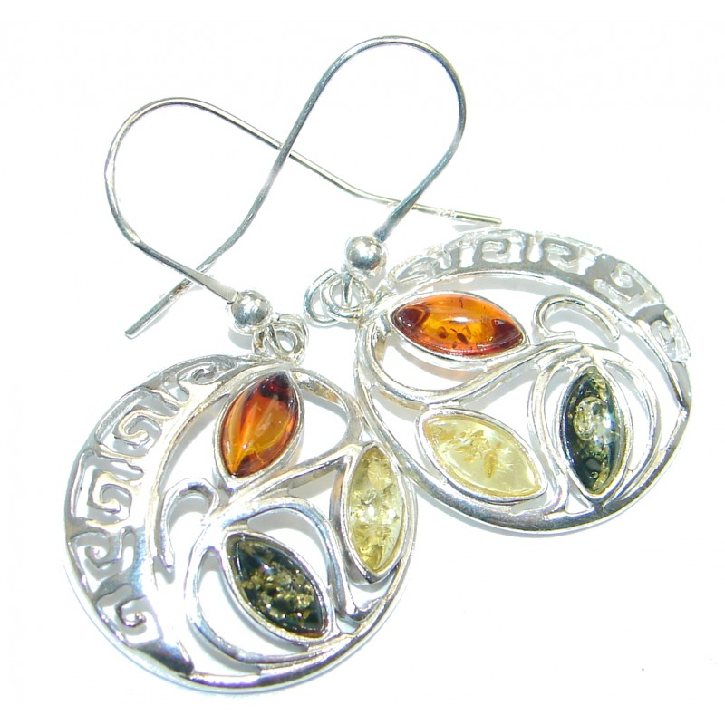 Owls Baltic Amber Oxidized Sterling Silver handmade earrings