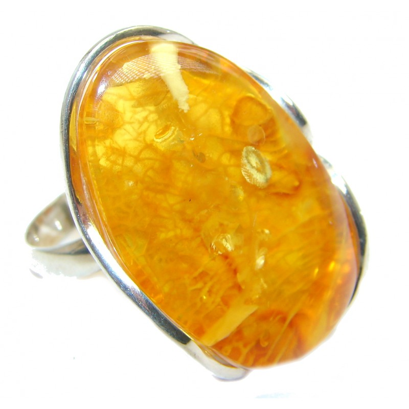 Huge Genuine Baltic Polish Amber Sterling Silver handmade Ring size 8 3/4