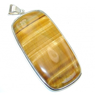 Huge Golden Tigers Eye Citrine Sterling Silver handcrafted Pendant