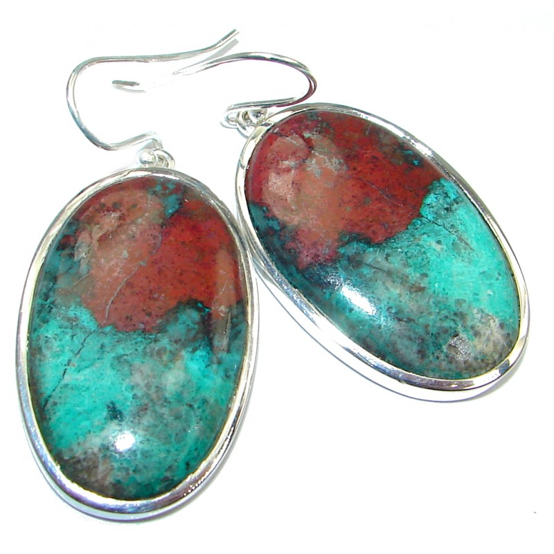 Large Natural Sonora Jasper Sterling Silver handcrafted Earrings