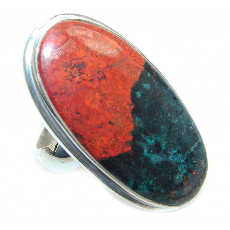 Large Perfect Sonora Jasper Sterling Silver Ring size adjustable