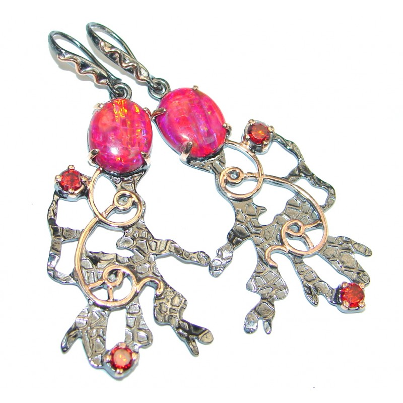 Exclusive Japanese Fire Opal Garnet Rose Gold plated over Sterling Silver earrings